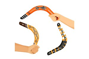 Painted traditional australian boomerang tools in hands vector