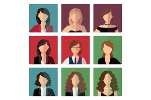 Adult women avatar icons set