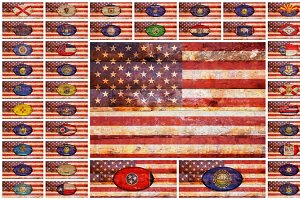 Flags United States and 50 states