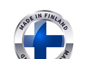 Metal badge icon, made in Finland