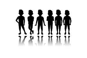 Boy black silhouette with reflection