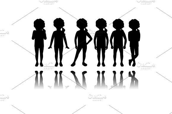 Girl Black Silhouettes With Reflection