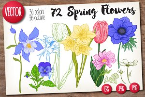 72 Spring Flowers Set