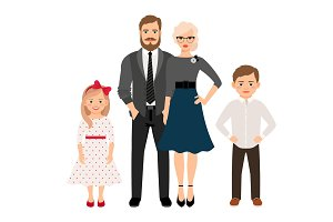 Happy family in classic style clothes