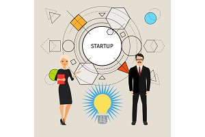 Startup concept illustration with business people