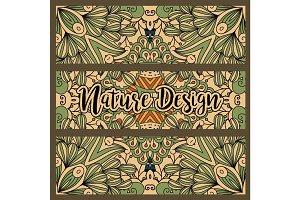 Horizontal nature colored pattern flyers set