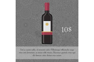 Wine beverage card template with price