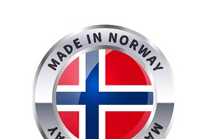 Metal badge icon, made in Norway