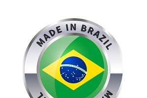 Metal badge icon, made in Brazil