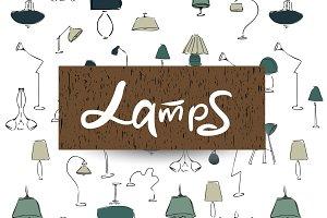 Lamps big set, 24 elements