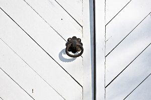 Wooden door with a handle
