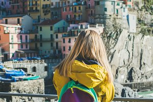 Young blond woman traveler