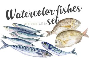 watercolor fishes set