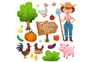 Cartoon Farm Set with Animals, Plants and Farmer