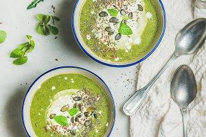 Spring vegan broccoli cream soup