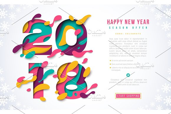 2018 happy new year banner template illustrations