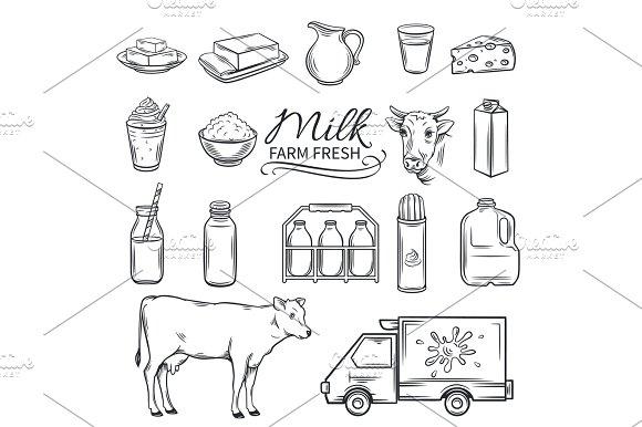 Set Hand Drawn Decorative Milk Icons