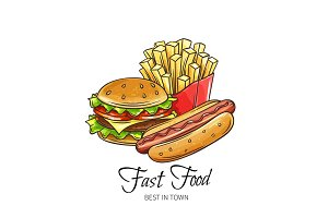 Fast food hand drawn banner.