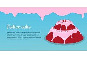 Bon Appetit. Festive Cake Web Banner. Chocolate