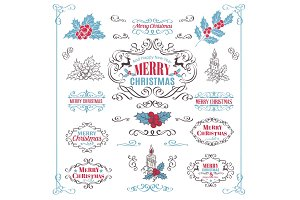 Christmas Calligraphic Retro Design Elements