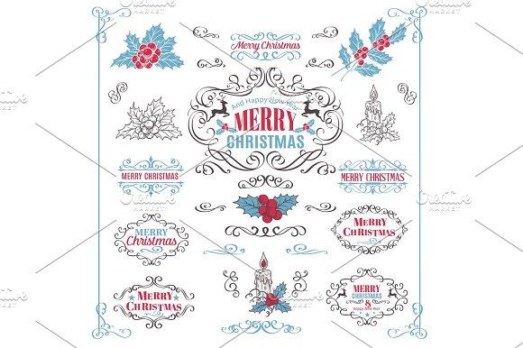 Christmas Calligraphic Retro Design Elements