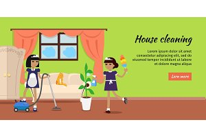 House Cleaning Vector Web Banner In Flat Design