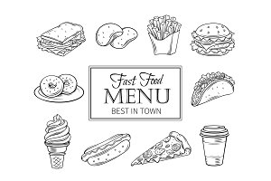 Vector hand drawn icons fast food.