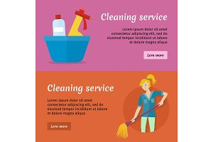 Cleaning Service Advertisement Cards Set. Poster