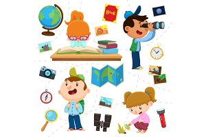 Cartoon Children Explore World Illustrations Set