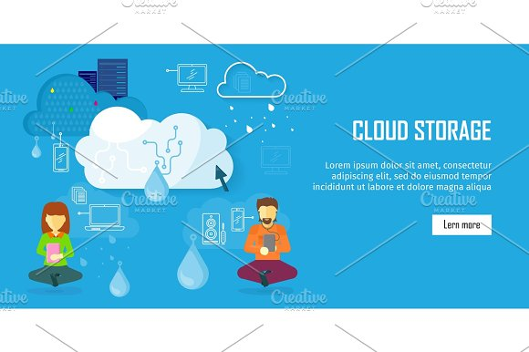 Cloud Storage Web Banner In Flat Style