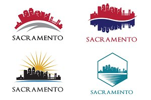 4 Sacramento City Skyline Logo