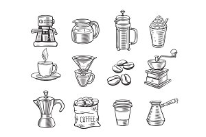 Hand drawn decorative coffee icons set.