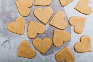 Heart shaped cookies ready to bake