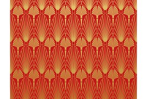 Art deco wallpaper red background