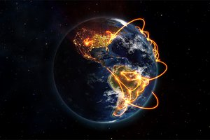 Illustration picture of the connected world with an Earth image courtesy of Nasa.org