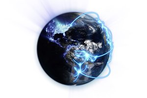 Illustrated blue connections on blurred earth with an Earth image courtesy of Nasa.org