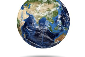 Isolated planet globe