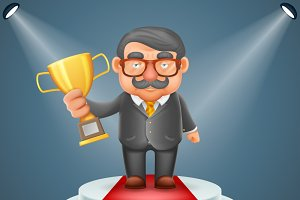 Businessman hold prize