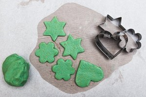 Green cookies ready for baking