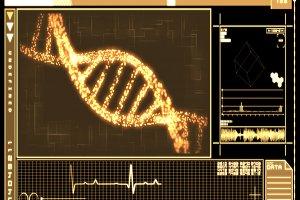 Orange Background DNA Helix technology