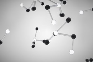 Black and white molecule cells grey background