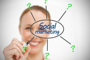 Businesswoman drawing social marketing brainstorm