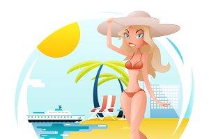 Girl on Sunny Beach