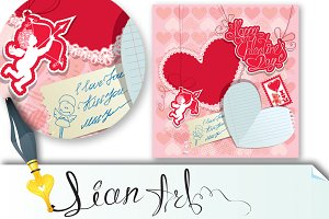 Holiday card with hearts, angel,