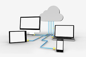 Media applicances connecting through cloud computing graphic