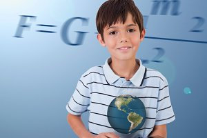 Little boy holding a tablet with a holographic globe hovering over it on background with maths equation