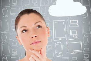 Woman with hand on chin thinking about cloud computing against grey multimedia background