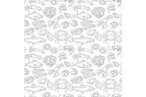 Hand drawn sea food seamless pattern.