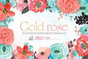 Gold roses-Watercolor flower clipart