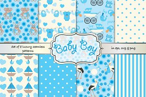 baby boy seamless vector pattern set